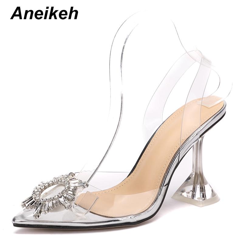 Aneikeh Women Shoes Peep Toe High Heels Sandals Summer Party Wedding Dress Shoes PVC Sandals Transparent Ankle Buckle Sandals