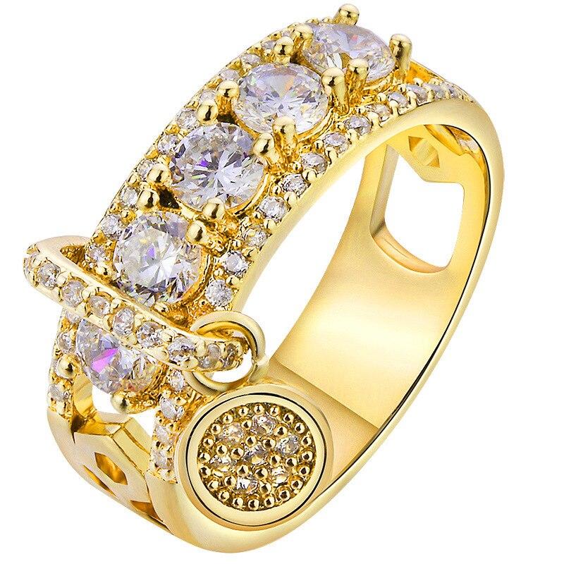Новинка, кольца из розового золота для женщин, полностью Кристальное обручальное кольцо из Стразы для дам, Женские аксессуары, кольца на палец, ювелирное изделие, подарок - Цвет основного камня: 6