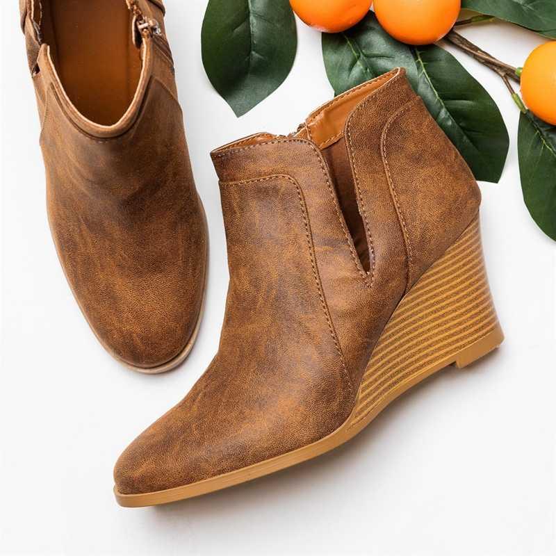Puimentiua botines de Punta puntiaguda de Invierno para mujer botas de leopardo tobillo calzado plataforma tacones altos cuñas zapatos mujer Bota Feminina