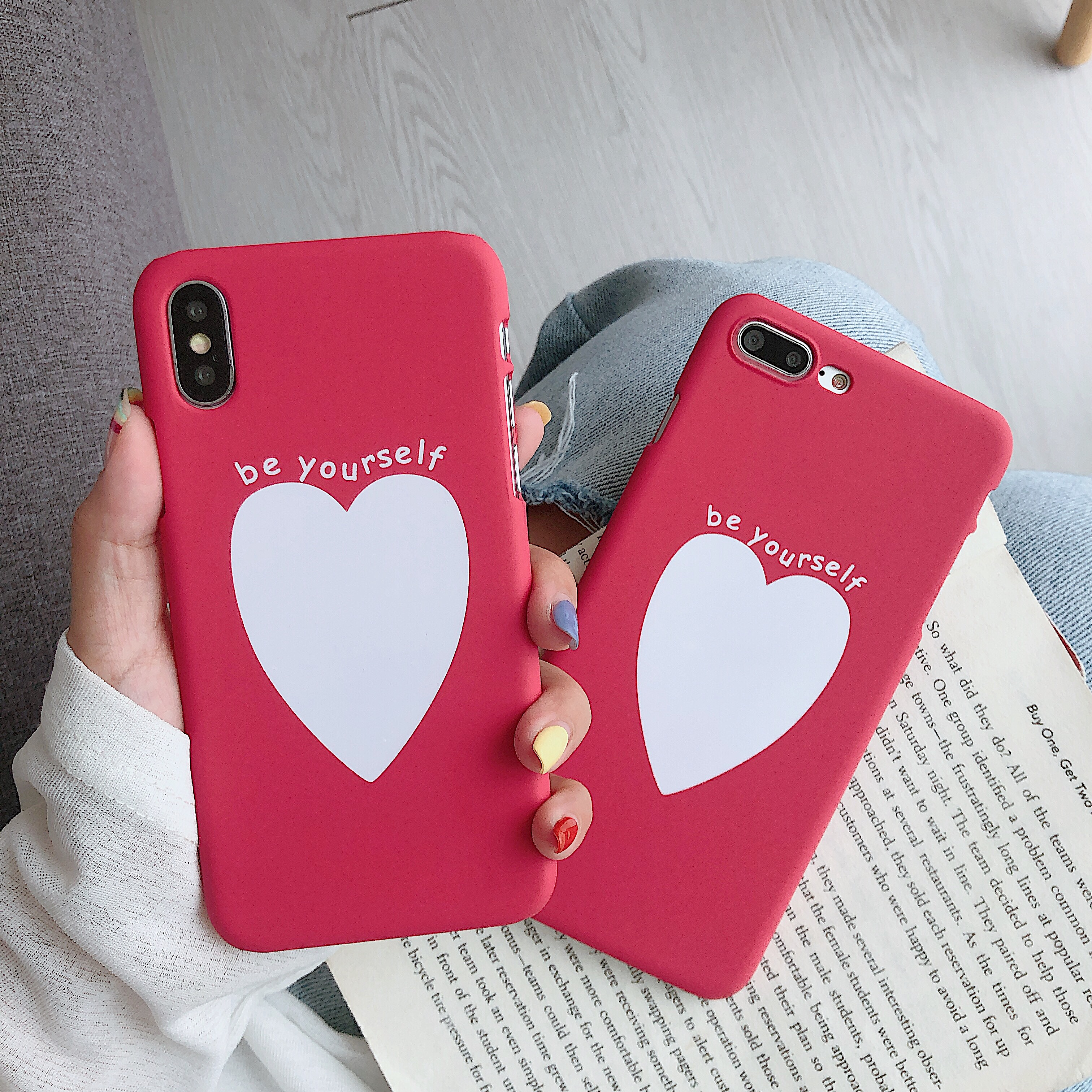 Phone Bag Case Accessories For iPhone X XR XS MAX 6 6s 7 8Plus Luxury Couple Love Heart Eyes Print Fashion Back Cover Capa Coque-in Half-wrapped Cases from Cellphones & Telecommunications