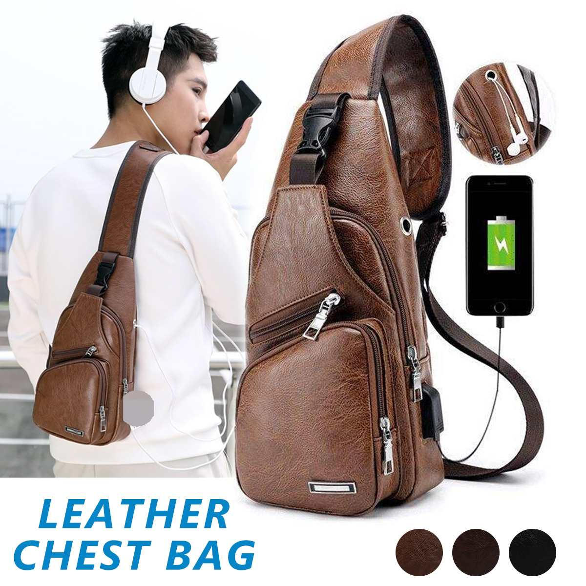 Men's Chest Bag Men Leather PU Chest Pack USB Charger Backbag With Headphone Hole Functional Travel Organizer Male Sling Bag