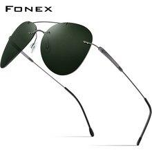 FONEX liga de titânio tr90 sem aro óculos de sol dos homens 2021 nova aviação ultraleve screwless polarizada para homem 851
