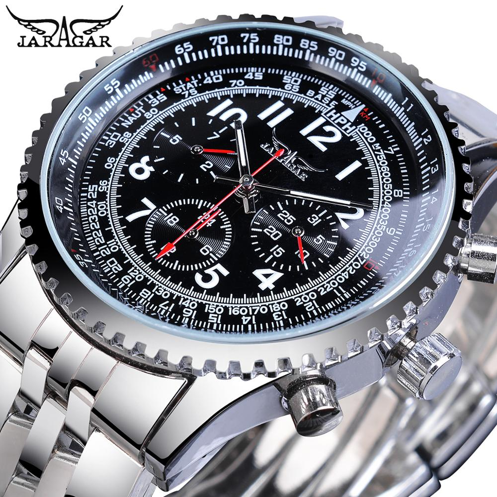 Jaragar Military-Wristwatch Mechanical Automatic-Watch Multi-Function Aviator Mens Steel-Strap
