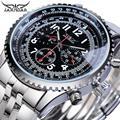 Jaragar Pilot Männer Automatische Uhr Schwarz 3 Zifferblatt Multifunktions Datum Mechanische Stahl Sport Uhr Top Marke Luxus Männer Armbanduhr Uhr