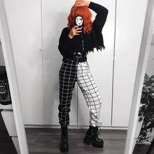 Streetwear Fresco Ragazze in Bianco e Nero Scacchiera Della Rappezzatura Dei Pantaloni Cargo Pantaloni Hight Vita Dritto Pantaloni Lunghi Sprots Pant