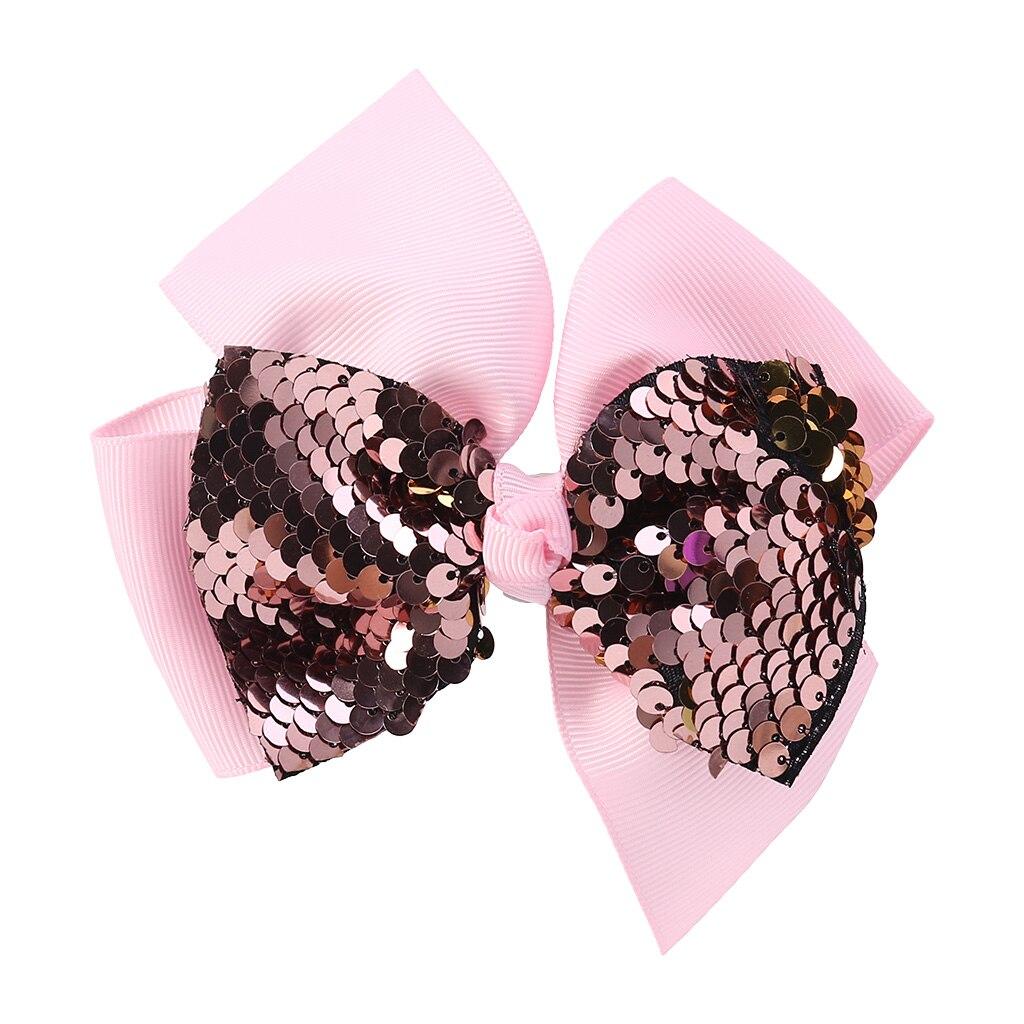 Заколка для волос для малышей, девочек, бант, Блестящие Блестки, милые аксессуары для принцессы, детские шпильки D08C - Цвет: Розовый