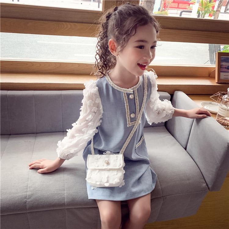 Crianças vestido de festa para meninas pétala manga longa vestido formal crianças roupas princesa vestido de aniversário para meninas 4 5 7 9 11 13 anos