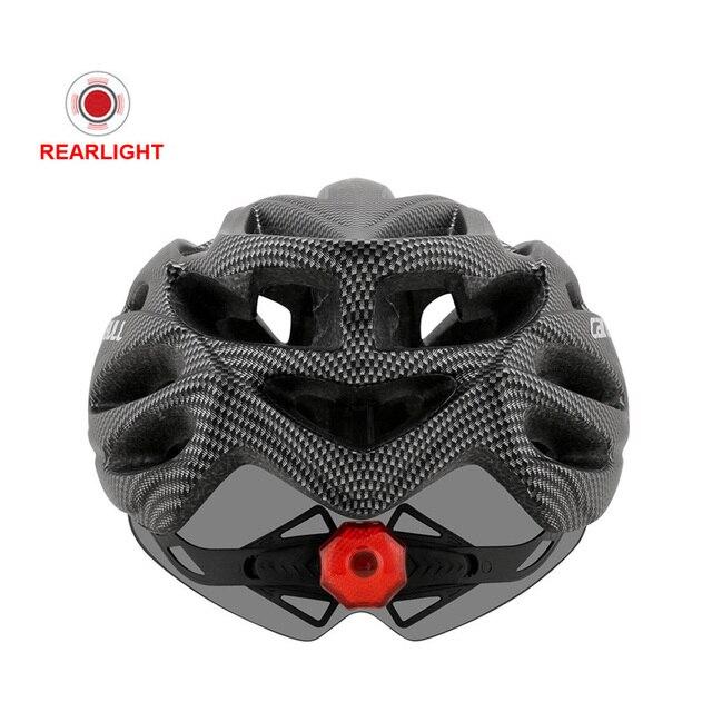 Mais novo bicicleta de estrada mountain bike capacete com tt lens & viseira das mulheres dos homens ciclismo capacete com luz traseira esportes mtb capacete da bicicleta 5