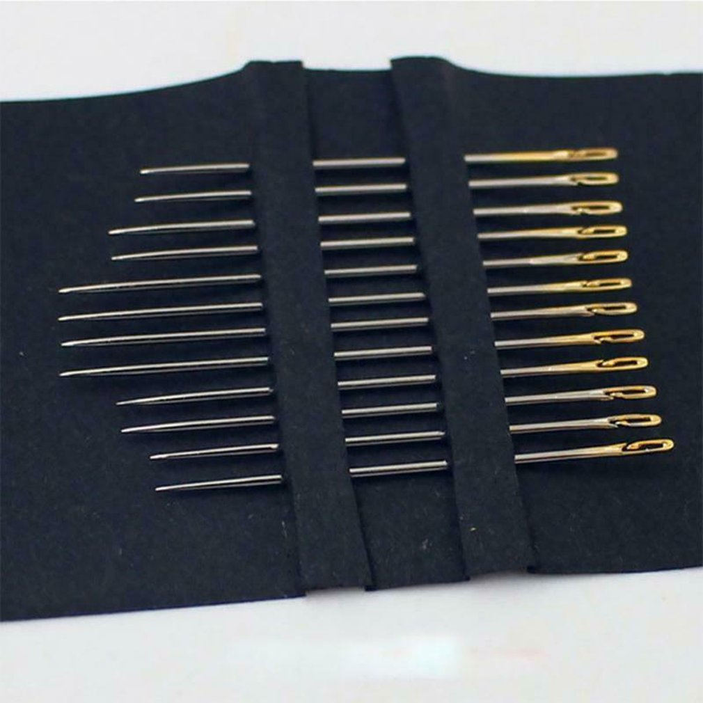 One Second-Needles Self Threading Needles Hand Sewing Repair Set of 12 Cloth Needles