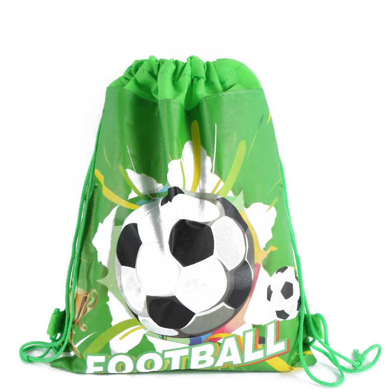 12pcs/set 34*27cm Football Theme Non-woven Fabrics Drawstring Bag Backpack Gift Bag Birthday Party Favor