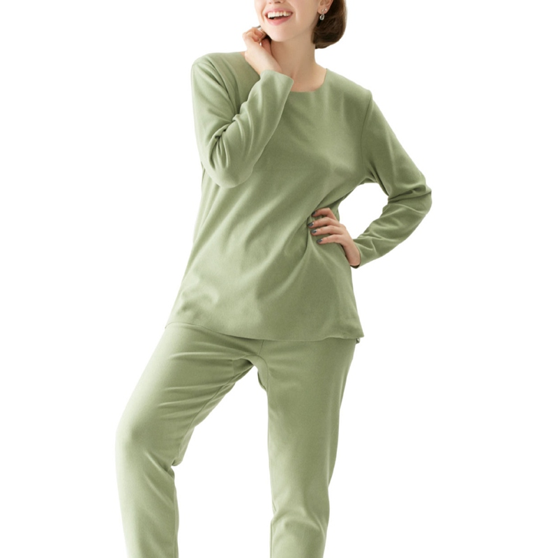 Mferlier Thin Fleece Nightwear Set Large Size 5XL 6XL 7XL 8XL Green Women Pyjama Seamless Elastic Underwear Tops + Warm Bottoms