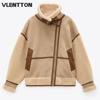 New Winter Women Thick Vintage Splice Suede Jacket Coat Loose Warm Lambswool Biker Outwear Female Oversize Faux Leather Overcoat 1