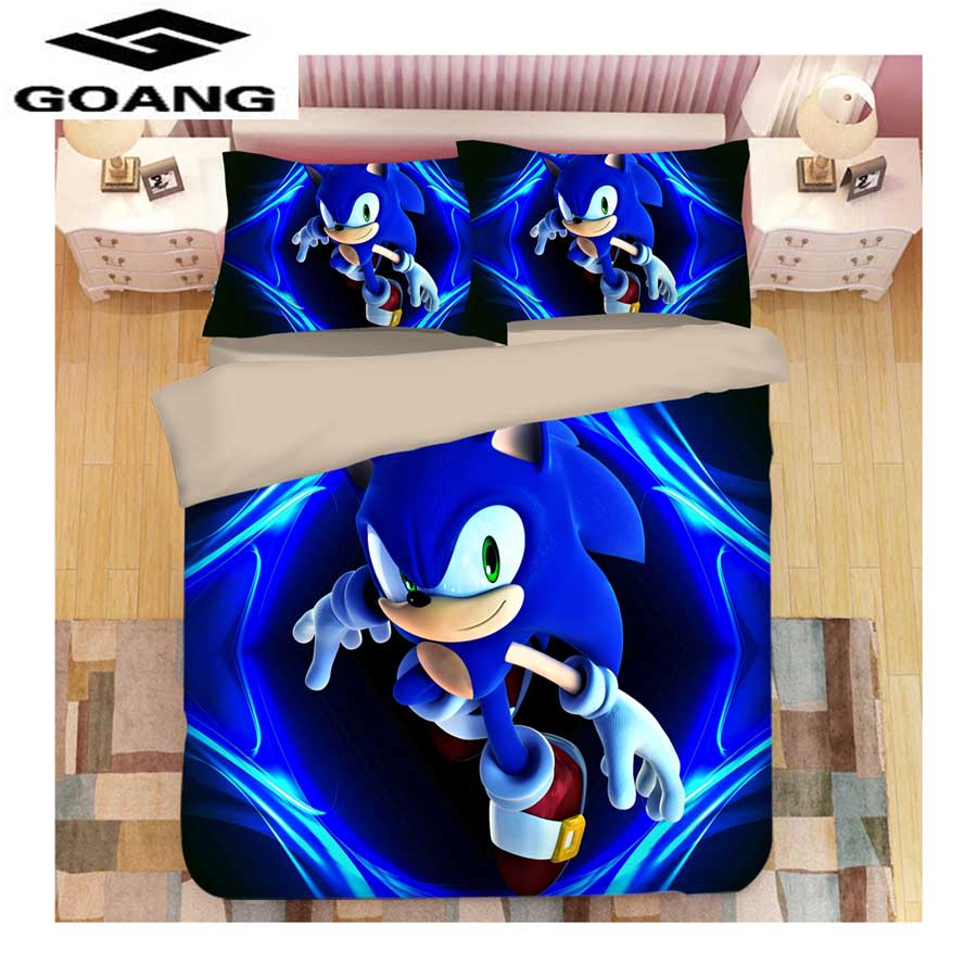 GOANG 3d Bedding Sets Bed Sheet Duvet Cover And Pillowcase Kids Bedding Home Textiles 3d Digital Printing Sonic The Hedgehog