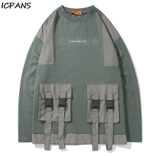 ICPANS  Pullover Hoodies Sweatshirts Streetwear Men Hip Hop Casual Loose Hoodie Tops Front Ribbon Pockets Color Block Patchwork