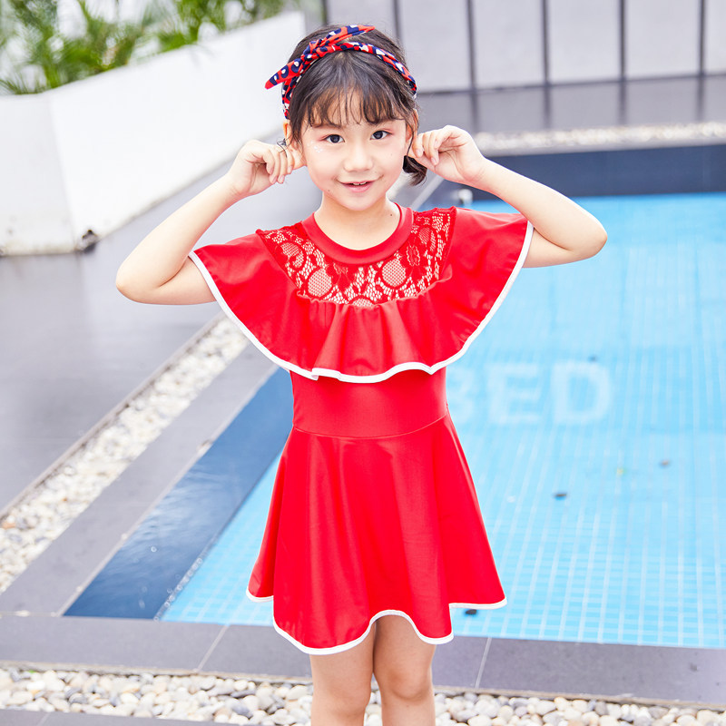 South Korea Girls New Style Bathing Suit Lace Collar Edge One-piece Swimming Suit Hot Springs Swimming Big Kid Skirt Boxers Swim
