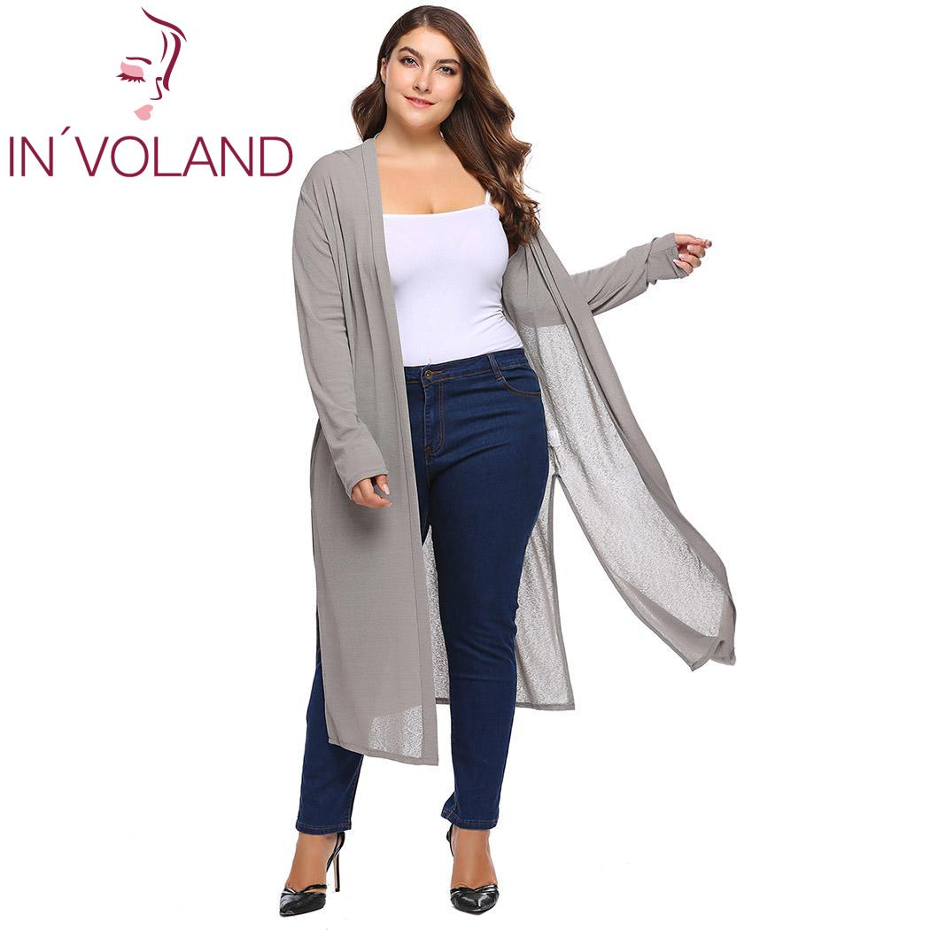 IN'VOLAND Women Cardigans Sweater Plus Size Women Casual Autumn Spring Long Sleeve Solid Open Stitch Knit Cardigan Outwear Tops