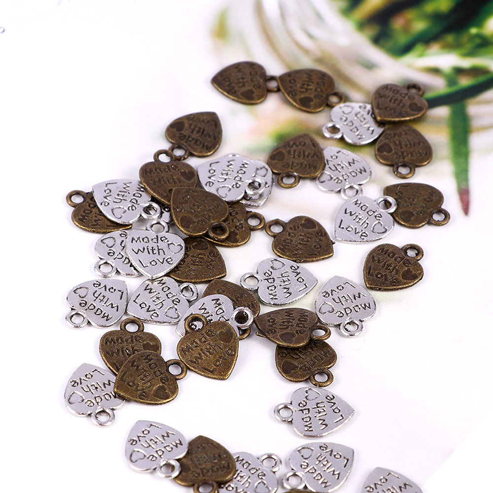 50pcs/bag Alloy MADE WITH LOVE Heart  Small Pendant Charms For DIY Necklaces Bracelets Jewelry Accessories Metal Charms