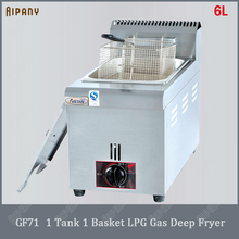 GF71/GF72 commercial LPG gas deep fryer with 1 or 2 tanks total 6L/12L stainless steel single/double frying baskets fryer