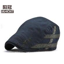 Mont – béret en jean et coton brodé pour homme et femme, chapeau plat, classique, Simple, décontracté, pour l'été