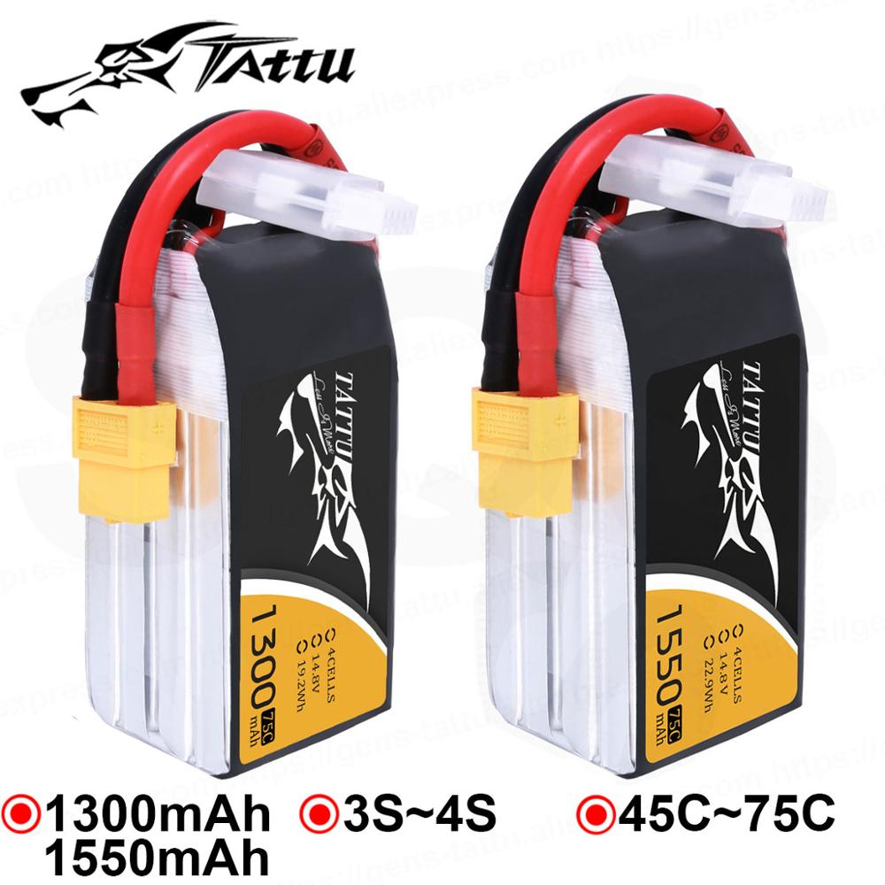 Tattu Lipo Battery 1300mAh 1550mAh Lipo 3S 4S Racing Battery XT60 Plug 45C 75C Quadcopter Racing FPV Drone RC Helicopter