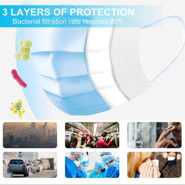 24H Ship 50PCS Disposable Face Mask with Elastic Earloop Three Layers Breathable Mask Non-Woven Fabric Mask for Dust Germ Flu 1