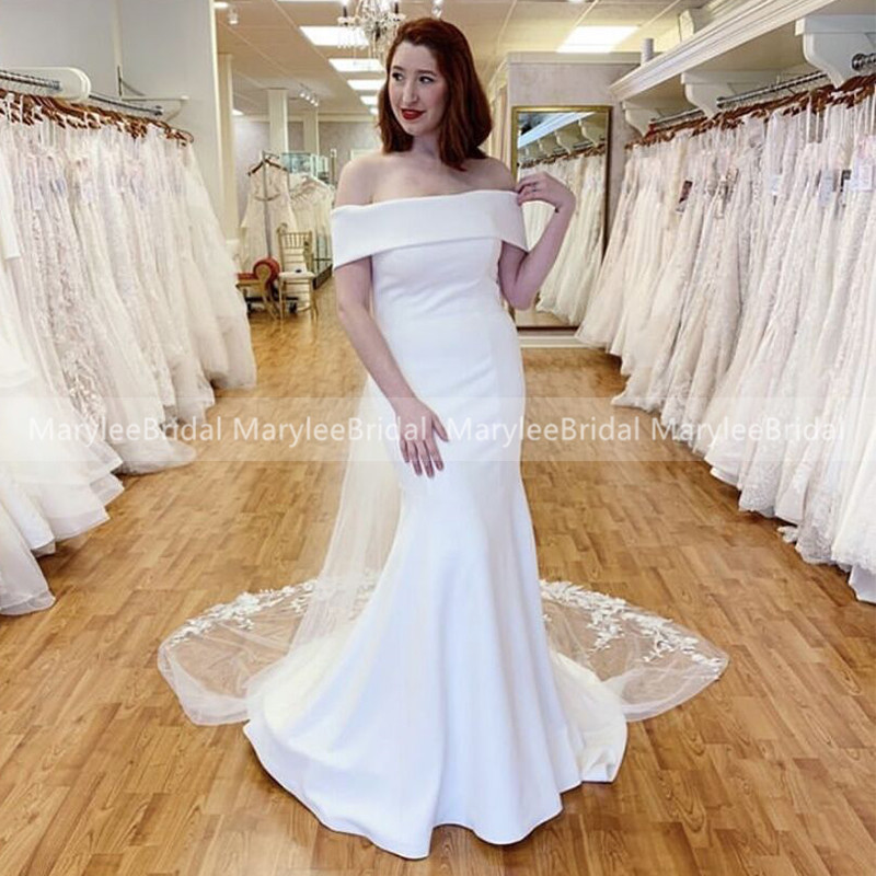 Boat Neck Mermaid White Wedding Dresses With Detachable Tulle Capes 2020 Simple Off The Shoulder Bridal Dress robe de mariee