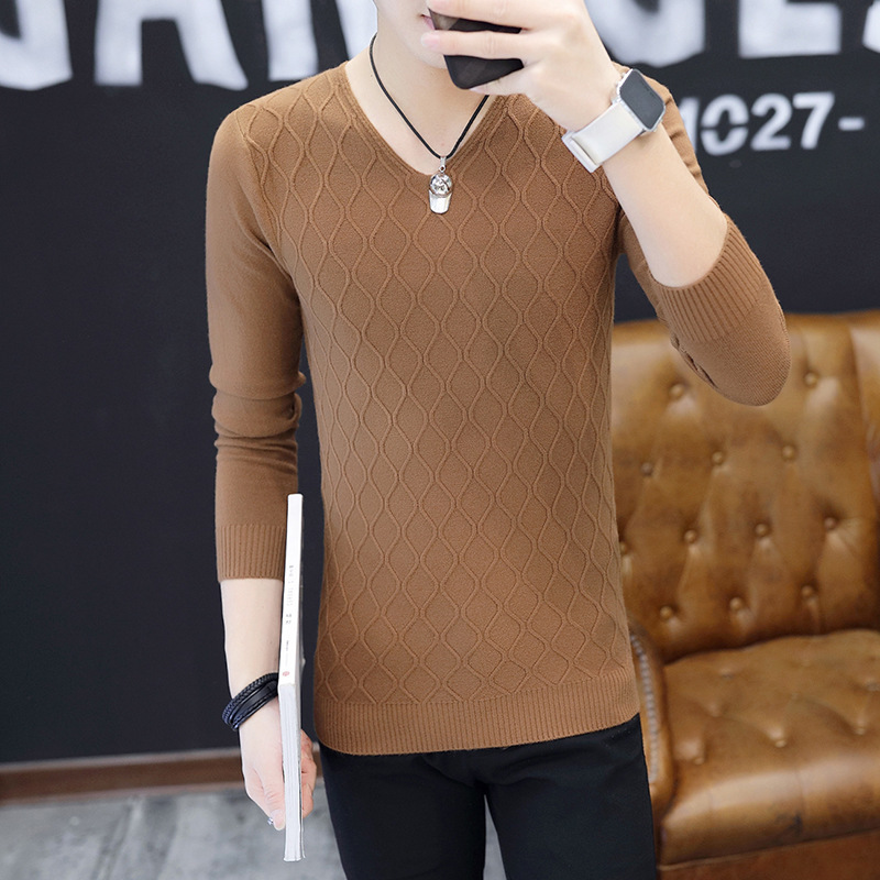 Fall Sweater Slim Fit V Neck Long Sleeve Pullovers Thin Plaid Spring And Autumn White Red Black Navy Blue Pink Mens Sweaters