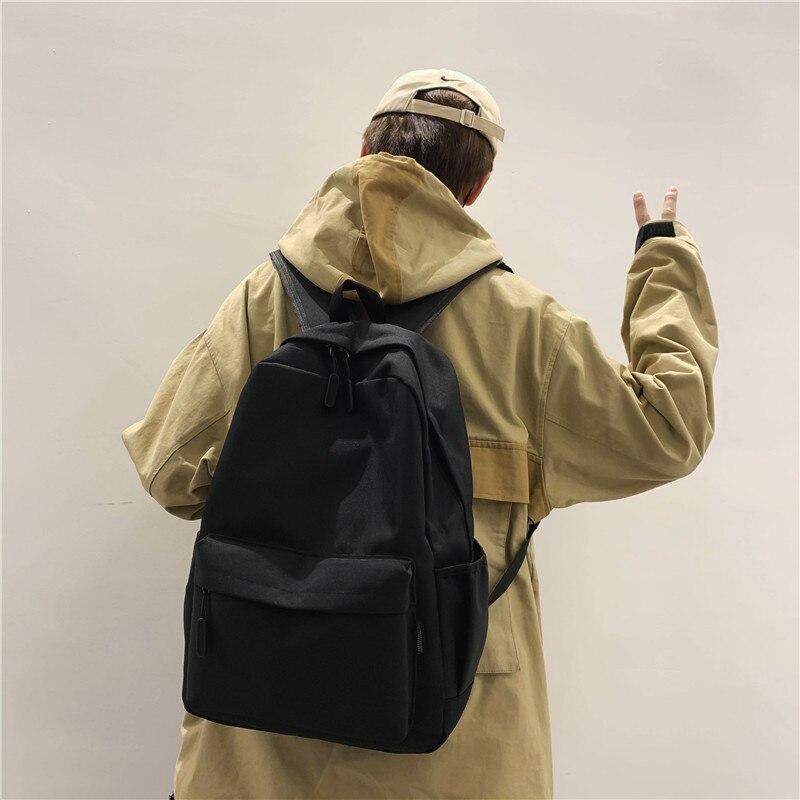 HOCODO Men Women Backpack New Solid Color Fashion School Bag For Teenage Backpacks Female Shoulder Travel Bag Rucksack Mochila