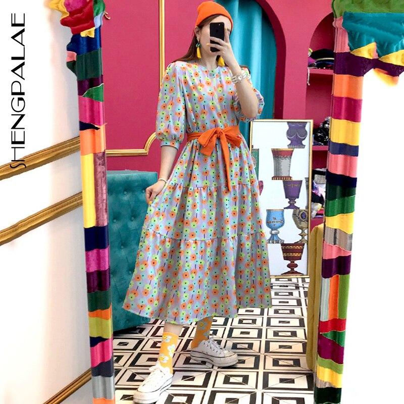 SHENGPALAE 2020 New Fashion Summer Women Vintage Loose High Waist Slim Was Thin Elegant Round Neck Bow Big Swing Dress ZA3949
