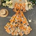 Yuoomuoo elegante verão vestido feminino 2020 fora do ombro irregular boêmio flor impressão maxi vestido moda plissado boho vestido túnica