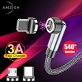 Amzish Магнитный кабель с поворотом на 540 градусов, 3А, кабель Micro Usb для быстрой зарядки, кабель Type-C для Iphone, магнитное зарядное устройство, прово...