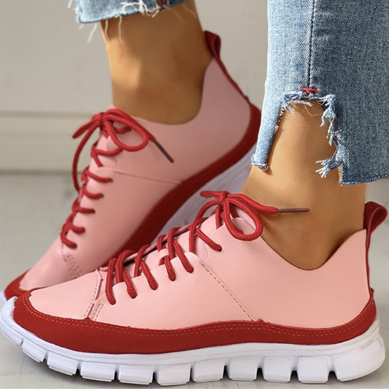 Woman Sneakers Women Non Slip Running Shoes Female Vulcanized Female Lace Up Shallow Flat Ladies Fashion Comfortable Footwear