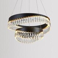Fss Crystal Black Chandeliers Gold Chandelier Lighting Hang Lamp Cristal Luster Kitchen Island Led lights Indoor Light Fixtures