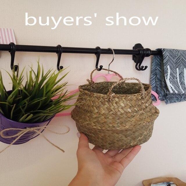 12x16x15cm depolama sepeti Rattan hasır sepet hasır Seagrasss katlanır çamaşır çiçek saksı çiçeği vazo ev asılı sepet