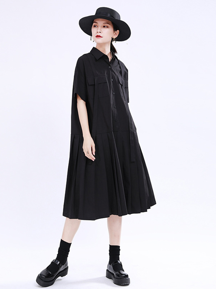 Big-Size Shirt Dress Short-Sleeve Pleated-Split Spring Summer Black Fashion EAM Women