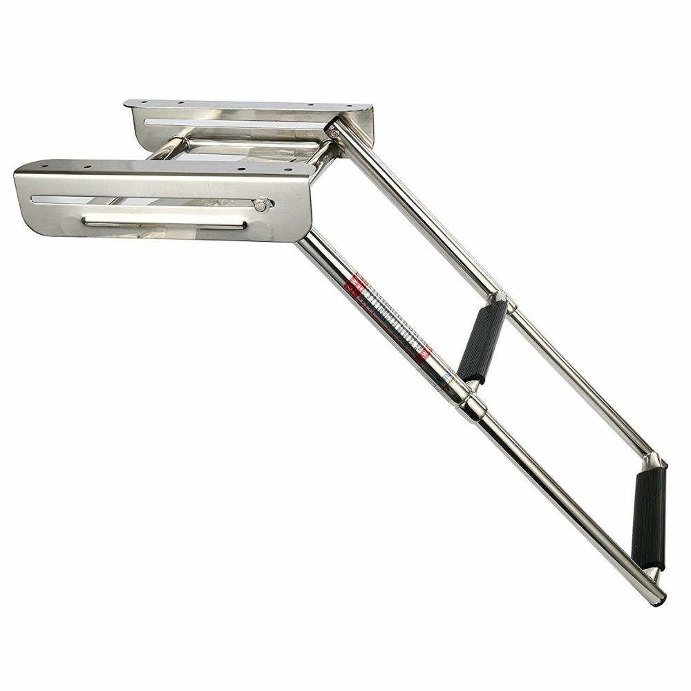 2-Step Under Platform Boat Boarding Stainless Steel Telescoping Ladder