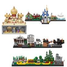 Geri gelecek şehir binaları peri masalı sihirli kale ev Simpsons film Skyline mimarisi yapı taşları şehir oyuncakları
