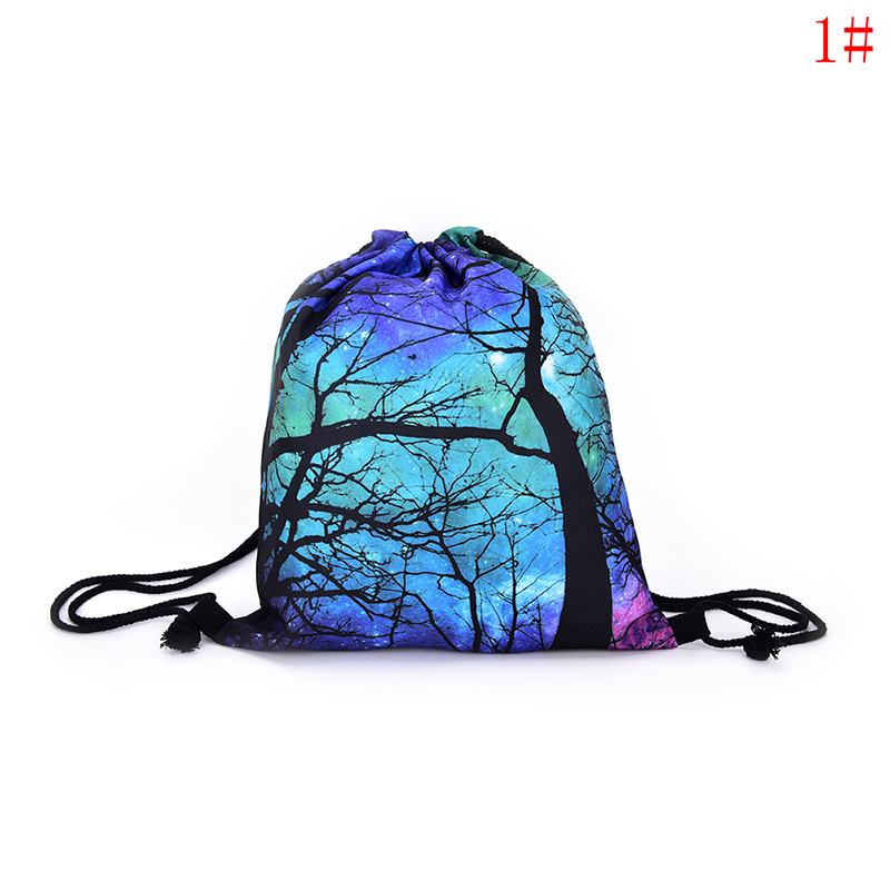Starry Drawstring Bag School Backpack Canvas Travel Bag Beach Bag