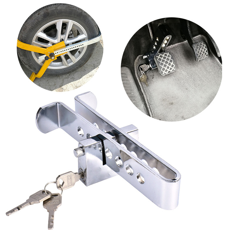 Car Clutch Lock Universal Auto 8 Holes Brake Pedal Lock Throttle Accelerator Security Steel Stainless Anti-Theft Tool Pedal Lock