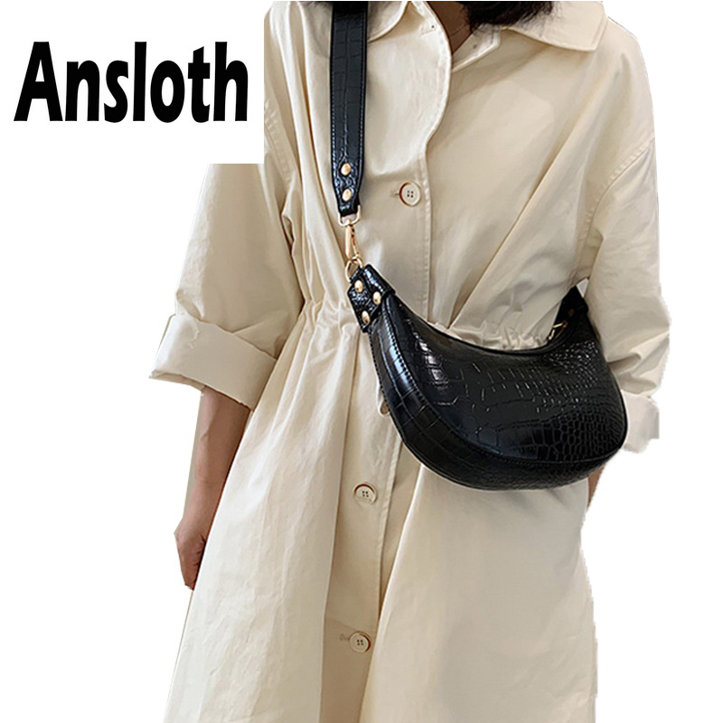 Ansloth Crocodile Pattern Hobos Bag Lady Luxury Design Shoulder Women Solid Color Crossbody Female Small HPS721