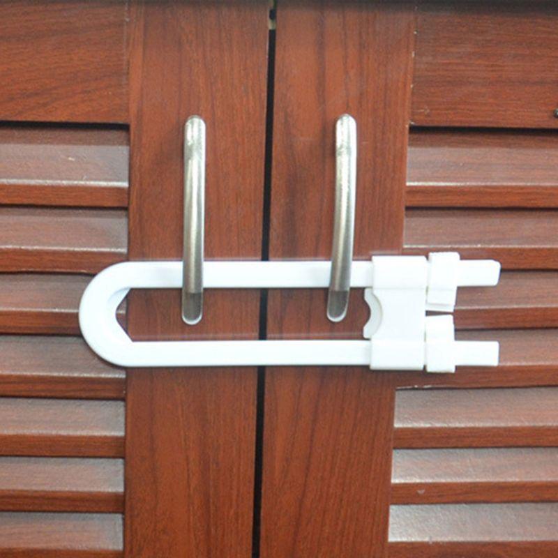 U Shape Infant Baby Safety Lock Children Kid Cabinet Latch Sliding Cabinet Lock K1KC