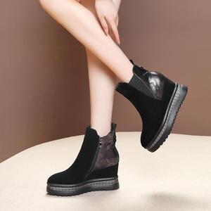 Image 3 - ALLBITEFO wiggen hak echt leer hoge hakken enkellaars voor vrouwen gemengde kleuren vrouwen laarzen winter sneeuw laarzen maat: 34 42