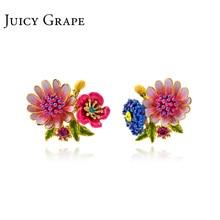 Сочный виноград Enmael глазурь ювелирные изделия нарисованный вручную цветок серьги асимметричные декоративные серьги