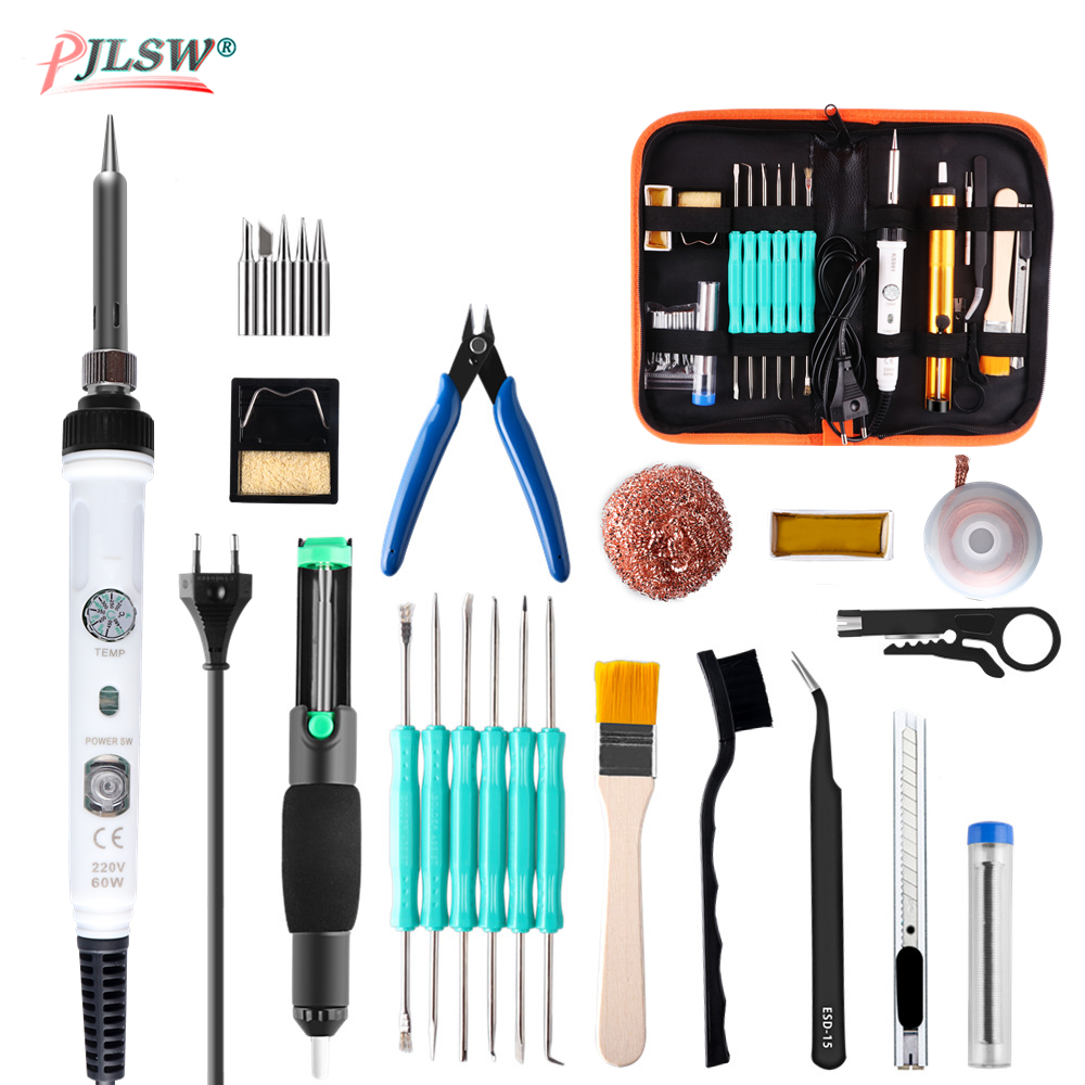 PJLSW 60W Adjustable Temperature Electric Soldering Iron Set Welding Solder Station Heat Pencil Repair Tool Kit