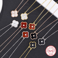 925 sterling silver pendant necklace personality fashion jewelry lucky female four leaf clover tag birthday gift 2019 new hot