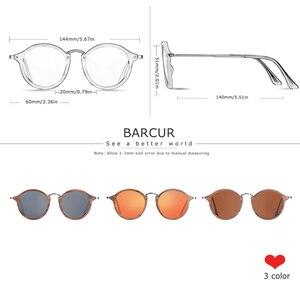 Image 2 - BARCUR Vintage Natural Black Walnut Sunglasses Round Polarized Wooden Sun Glasses Men Women Oculos De Sol Masculino