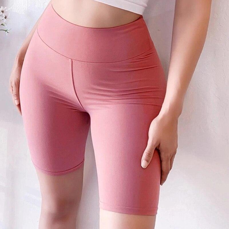 Black Casual Solid Crop Wide Waistband Women Sport Fitness Short Leggings Summer Modern Lady Women Pants Trousers