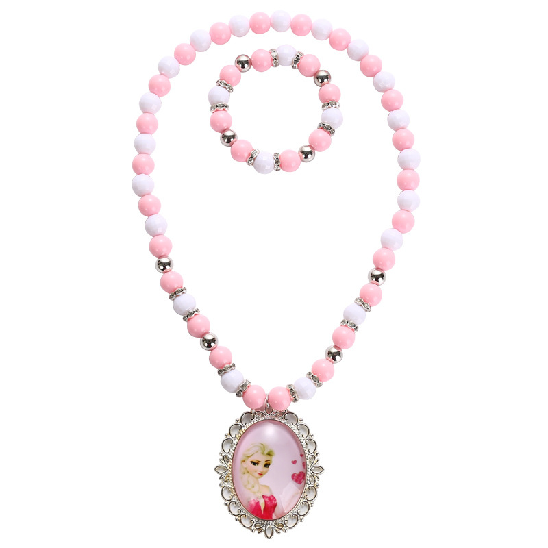 Frozen Children GIRL'S Time Stone Necklace Bracelets Girls Play House Aisha Princess Set Gift