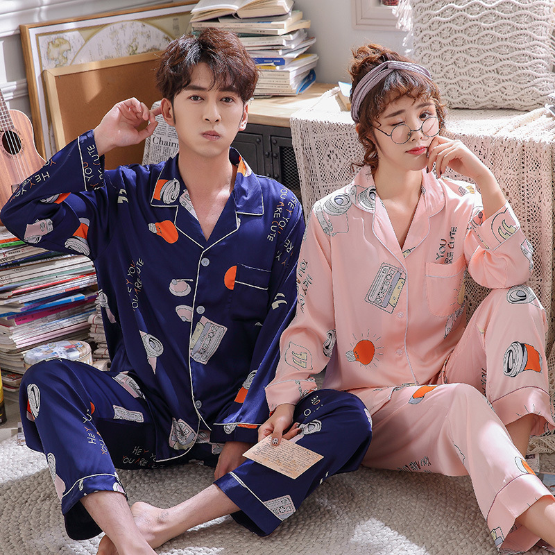 FZSLCYIYI Lovers Pyjamas Women Full Sleeve Silk Satin Pajama Sets Cartoon Couple Pajamas For Women Sleepwear Sets Pijama Mujer