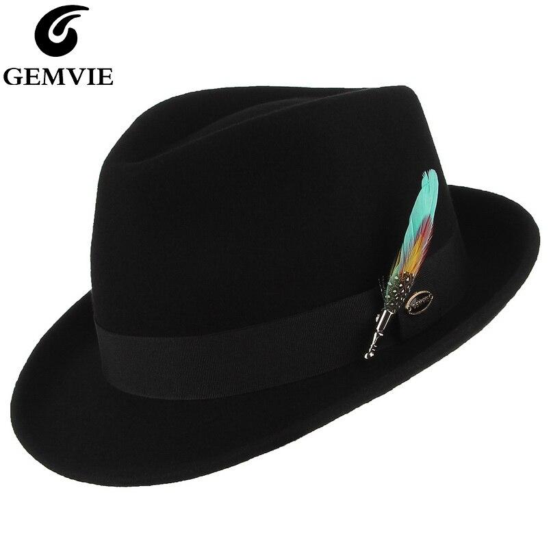 Мужская и женская теплая фетровая шляпа GEMVIE, толстая фетровая Трилби джазовая шляпа из 100% шерсти с перьями, Осень зима 2019|Мужские фетровые шляпы|   | АлиЭкспресс